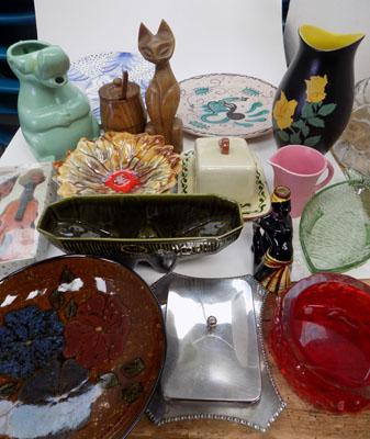 Box of assorted pottery glass & treen