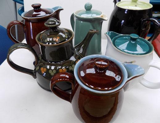 Tray of Denby teapots