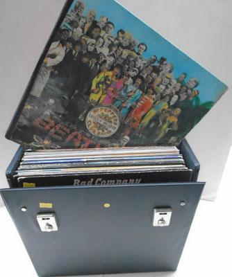 Box of Rock & Pop records in case