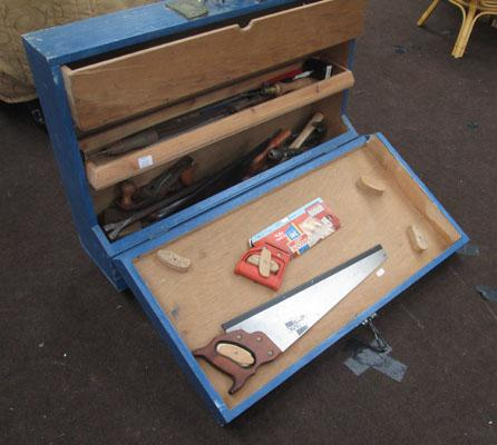 Wooden tool box on wheels & tools