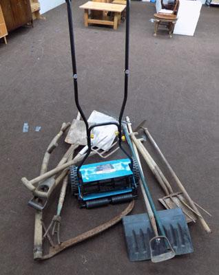 Hand lawn mower & selection of garden tools