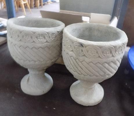 Pair of Goblet style heavy garden planters