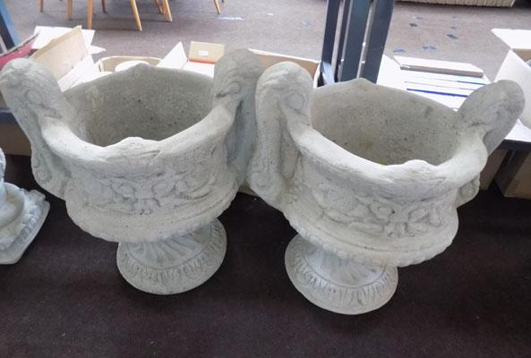 Pair of trophy style heavy garden planters