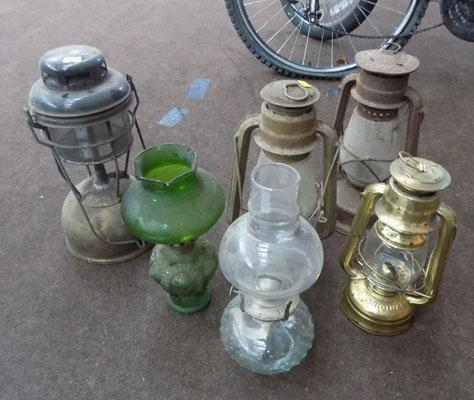 Selection of old oil lamps, Tilly lamps etc
