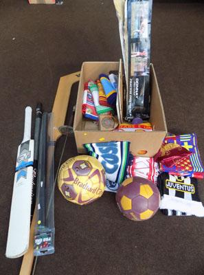 Box of sporting items & football scarves