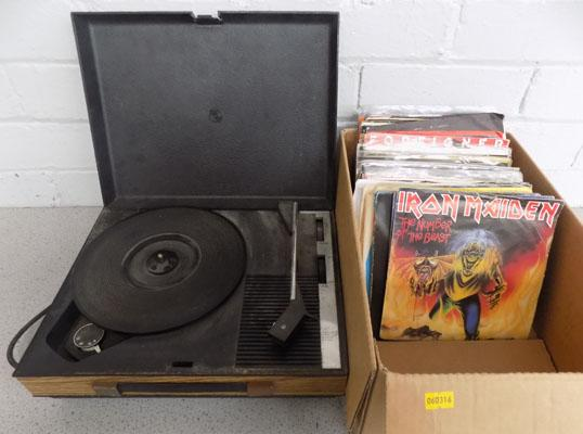 "Fidelity record player & box of 7"" singles"