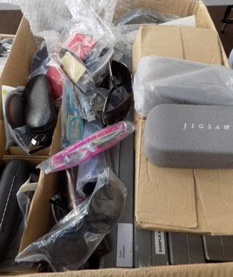 Large box of sunglasses & cases