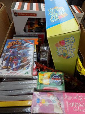 Mixed box of new items inc kids DVDs