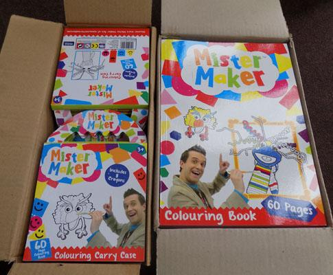 2 Boxes of Mister maker colouring books & crayons