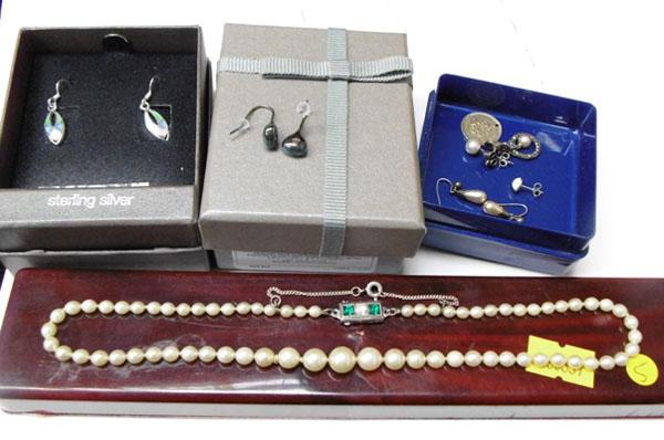Collection of silver ear rings & silver Pearl necklace