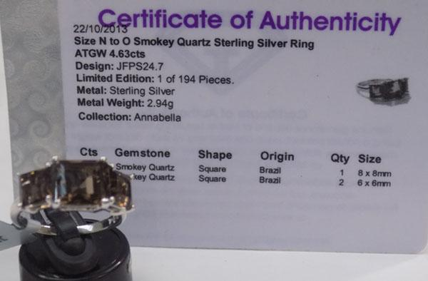 Large carat sterling silver smokey quartz ring-with certificate