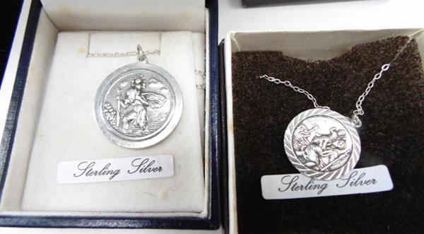 2x Sterling silver St Christopher necklaces