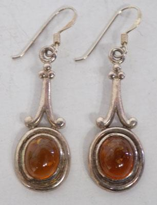 Sterling silver Art Nouveau style Amber ear rings