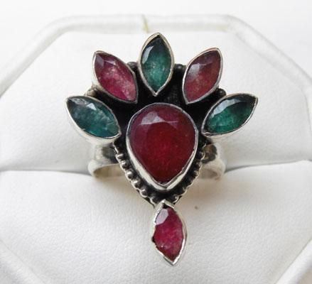Silver Ruby & Emerald ring