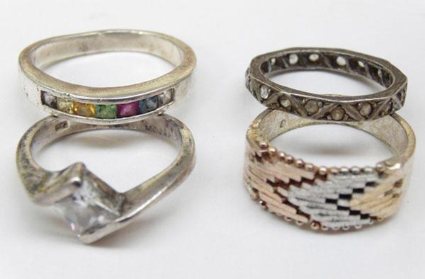 4x Silver rings