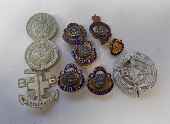 2x WW2 Long service kings wounded badges & Royal British legion badges & Boys brigade badges