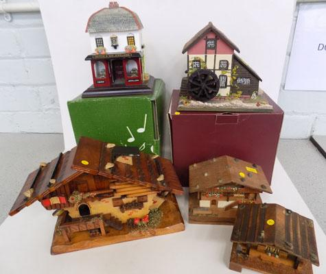Selection of wooden musical boxes