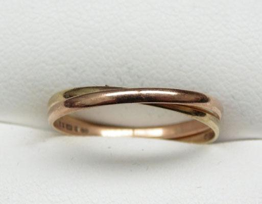9ct Yellow & Rose gold double ring