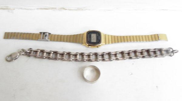 Silver bike chain bracelet & silver ring & vintage Casio watch