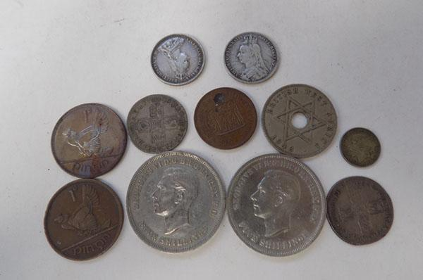 Collection of coins inc Festival of Britain 5 shillings, Queen Anne crown