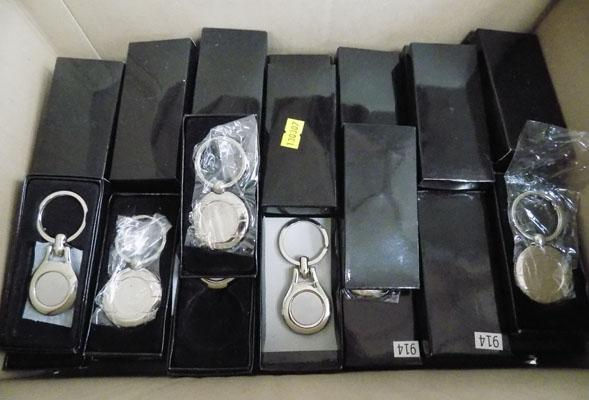 Approx 78 new key ring fobs in boxes