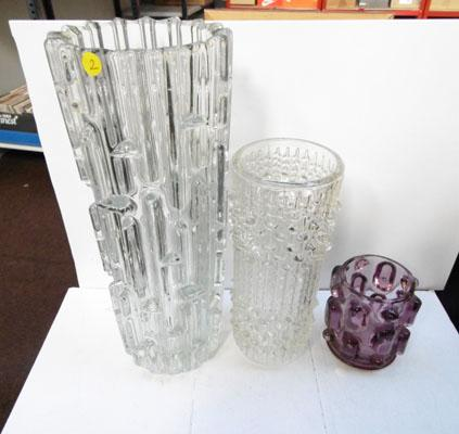 3x Swedish glass vases
