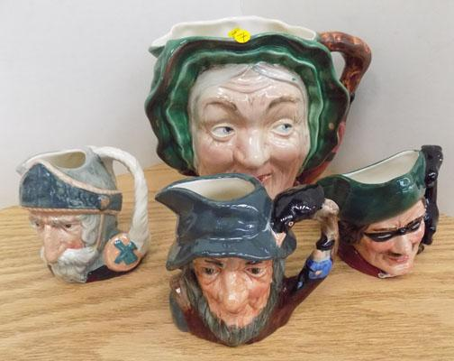 Large Bewsick Toby jug & 3 Royal Doulton small jugs