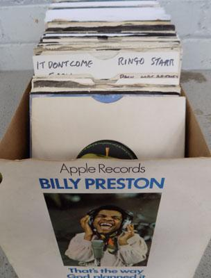 Box of records including Beatles and Friends - singles