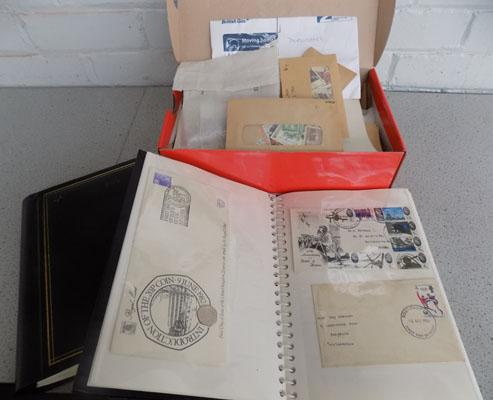 Box of stamps & First edition