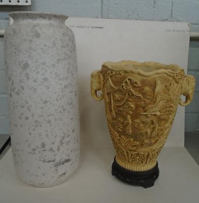 2x Decorative vases-1 west German & 1 oriental