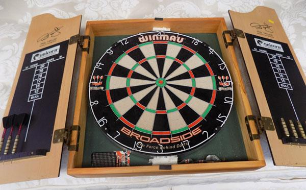Bristle dart board in case