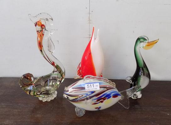 4x Murano style blown glass figures
