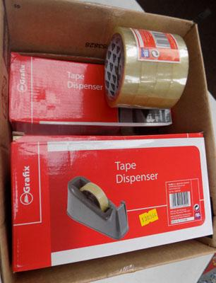 Box of tape dispensers
