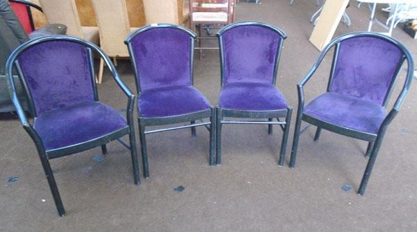 Set of 4 purple velvet dining chairs