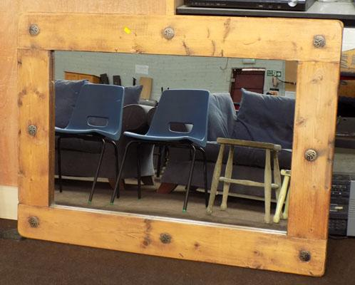 Solid rustic pine mirror