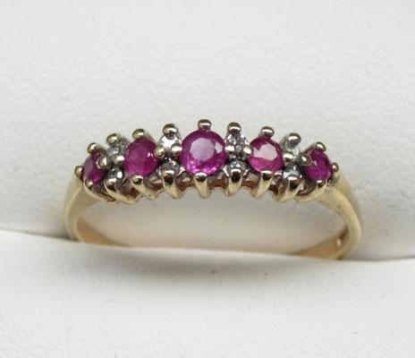 9ct Gold Ruby & Diamond ring size P1/2