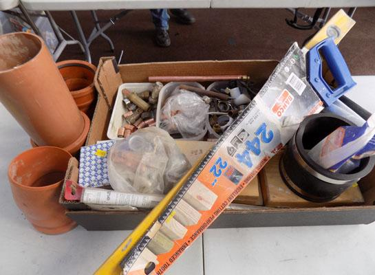 Large box of plumbing materials & other diy items