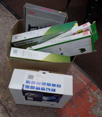 Box of extension sockets, outdoor lights etc