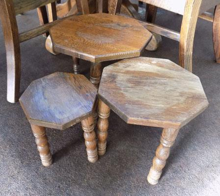 Set of 3 Oak occasional tables