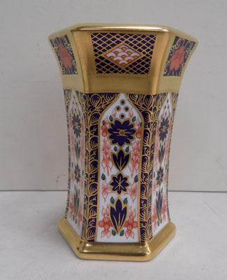 Royal Crown Derby hexigan small vase 1128 Old Imari