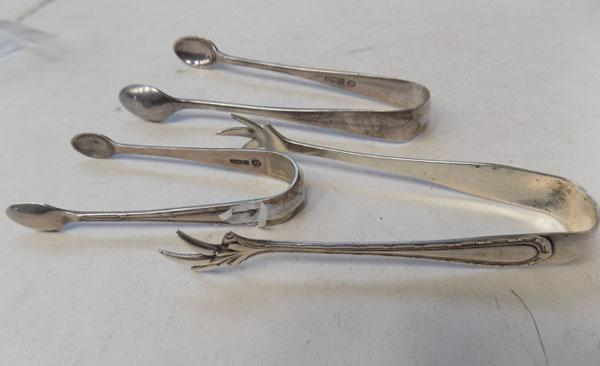 3 Pairs of silver sugar tongs