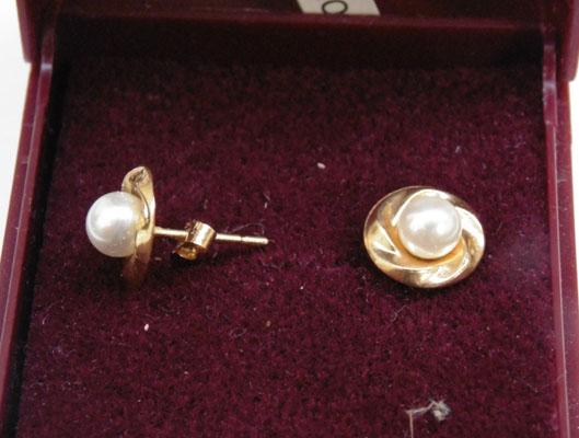 Pair of 9ct gold & Pearl ear rings