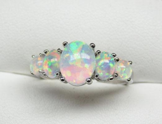 925 Silver Opal triplet ring size P