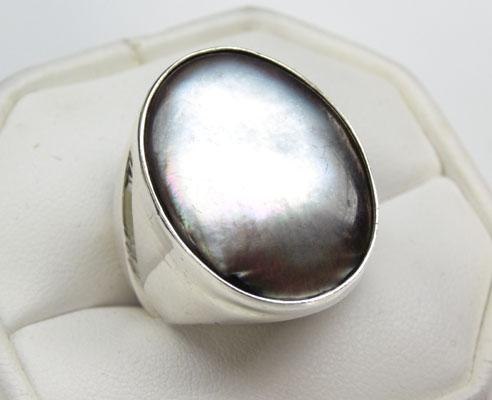 925 Silver Mother of Pearl ring size R