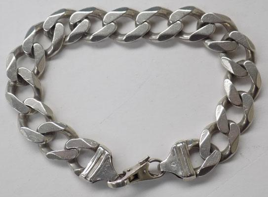 Solid Sterling silver curb link bracelet-heavy