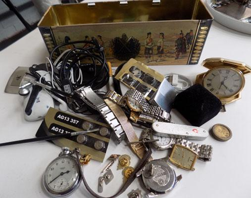 Tray of watches, badges etc