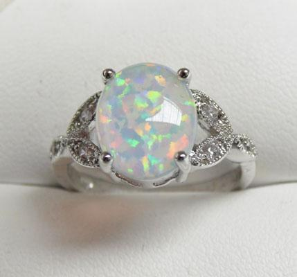 925 Silver Opal triplet ring size P1/2