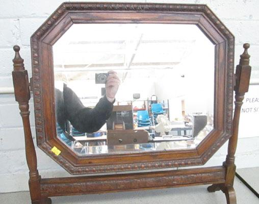 Wood framed mirror on stand