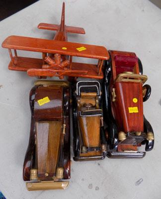 3 wooden cars and 1 plane (vintage)