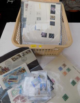 Box of early Commonwealth stamps etc